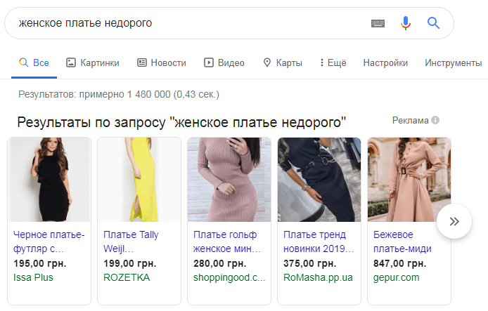 Услуга Google Shopping