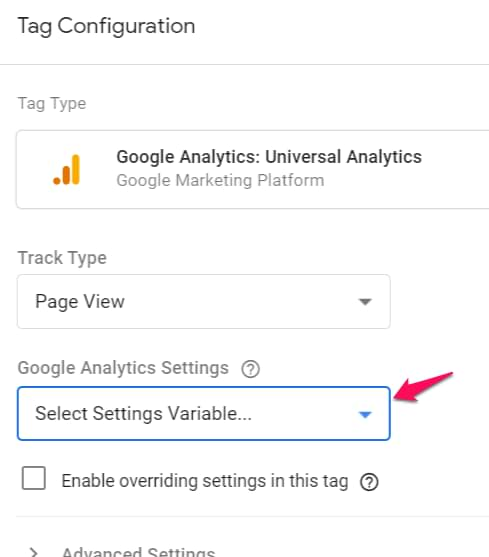 Google Analytics Settings Variable in GTM