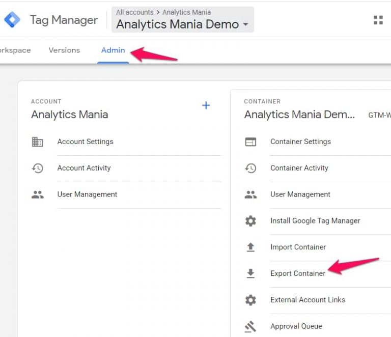 Google Tag Manager export