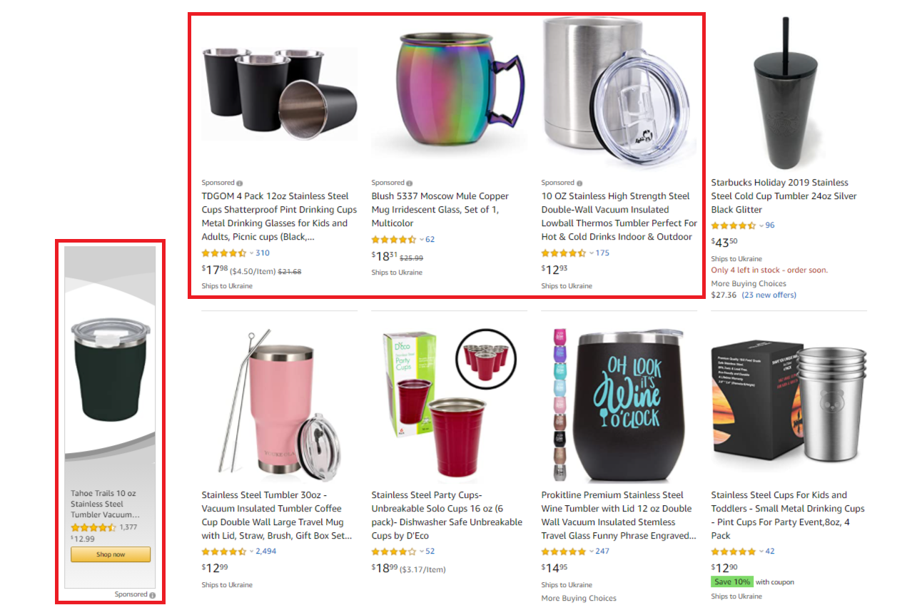 Amazon Ads keyword cup