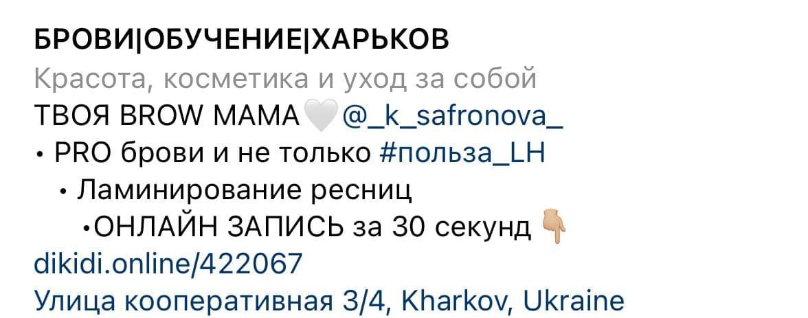 Instagram profile information