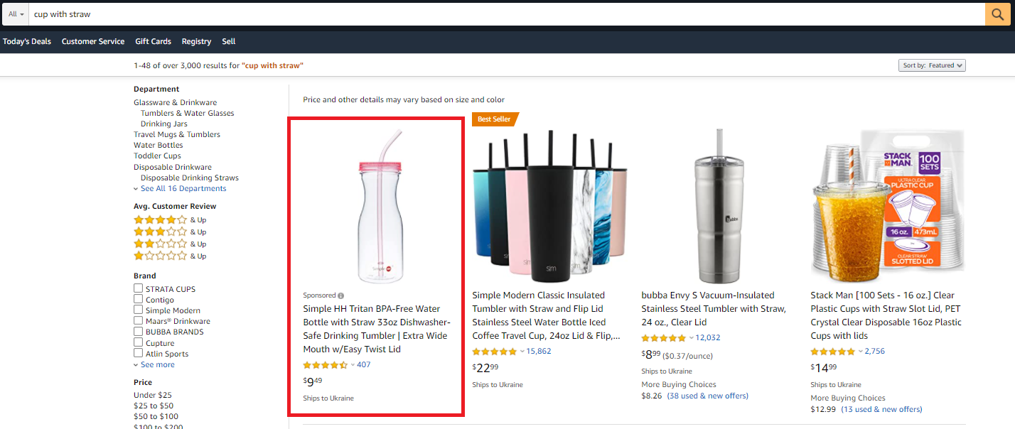 Amazon Ads keywords cup with straw