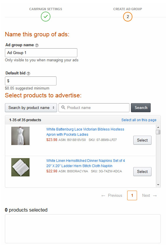 Amazon Ads select products to advertise