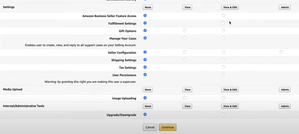 Amazon Seller Central users permissions