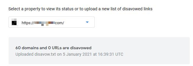 Disavow Tool статус ресурса