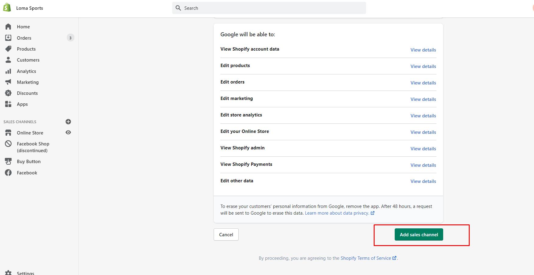 Shopify add feed