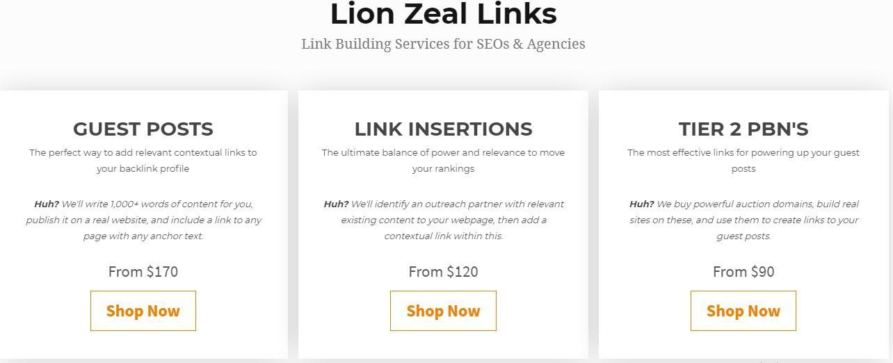 Lion Zeal вартість послуг